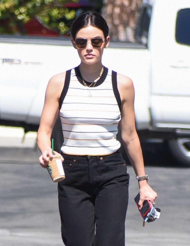 Lucy Hale in White Blouse and Black Pants out in Los Angeles