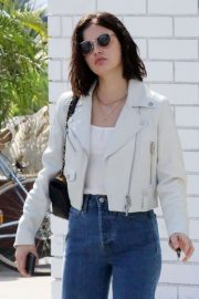 Lucy Hale in White Leather Jacket - Out in Studio City
