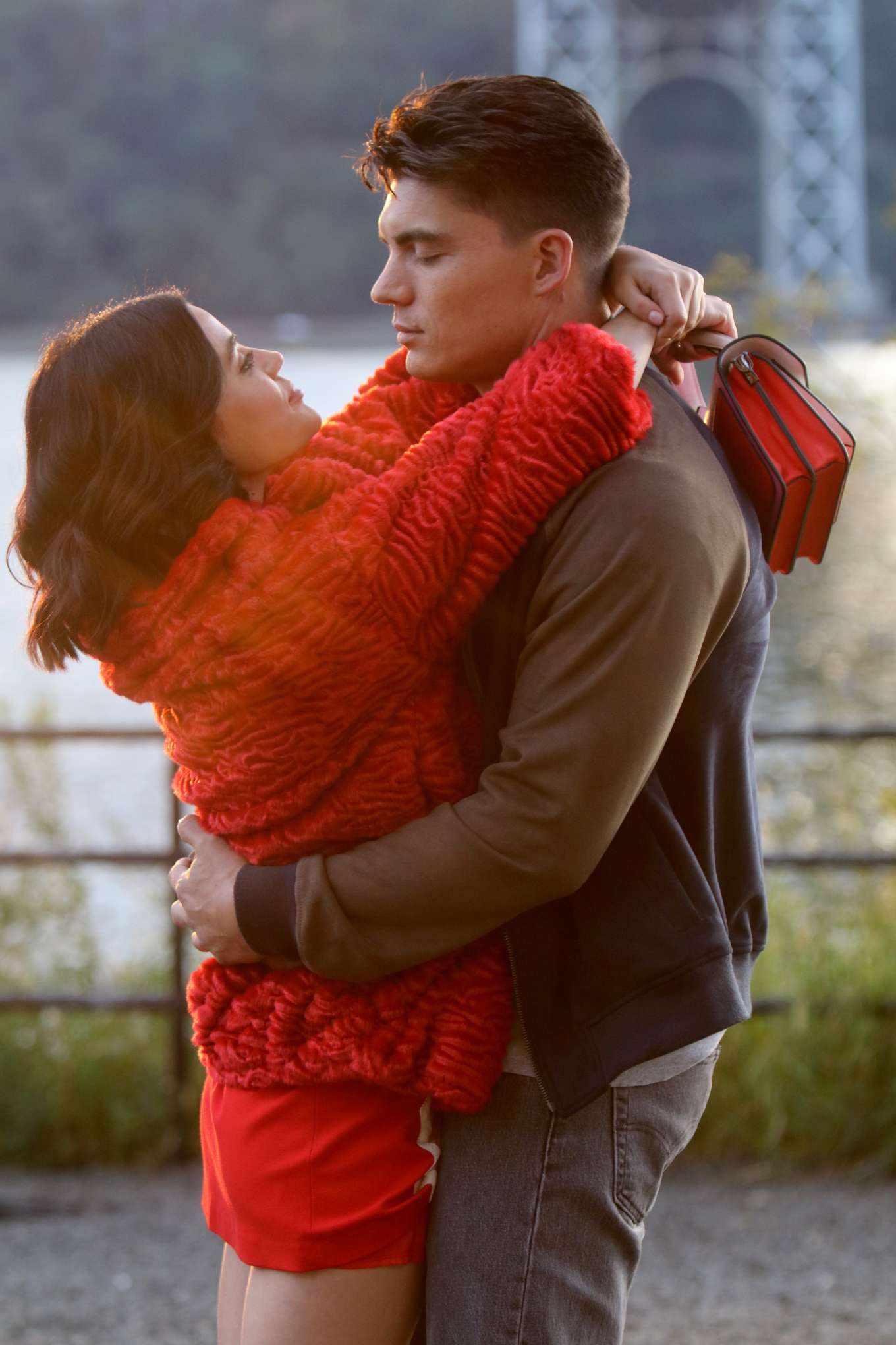 Lucy Hale - Kissing Zane Holtz during a scene on the 'Katy Keene' set in NY