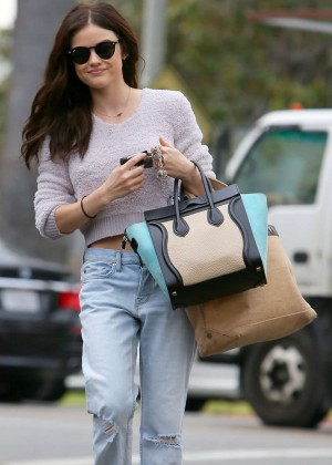 Lucy Hale in Jeans Leaving a gym in LA