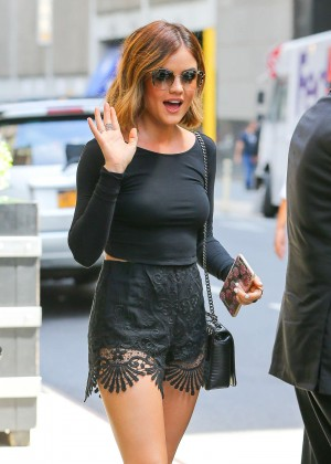 Lucy Hale in Black Shorts -12