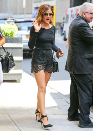 Lucy Hale in Black Shorts -19