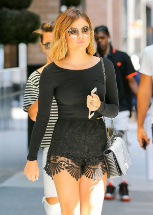 Lucy Hale in Black Shorts Leaving AOL Offices in NYC