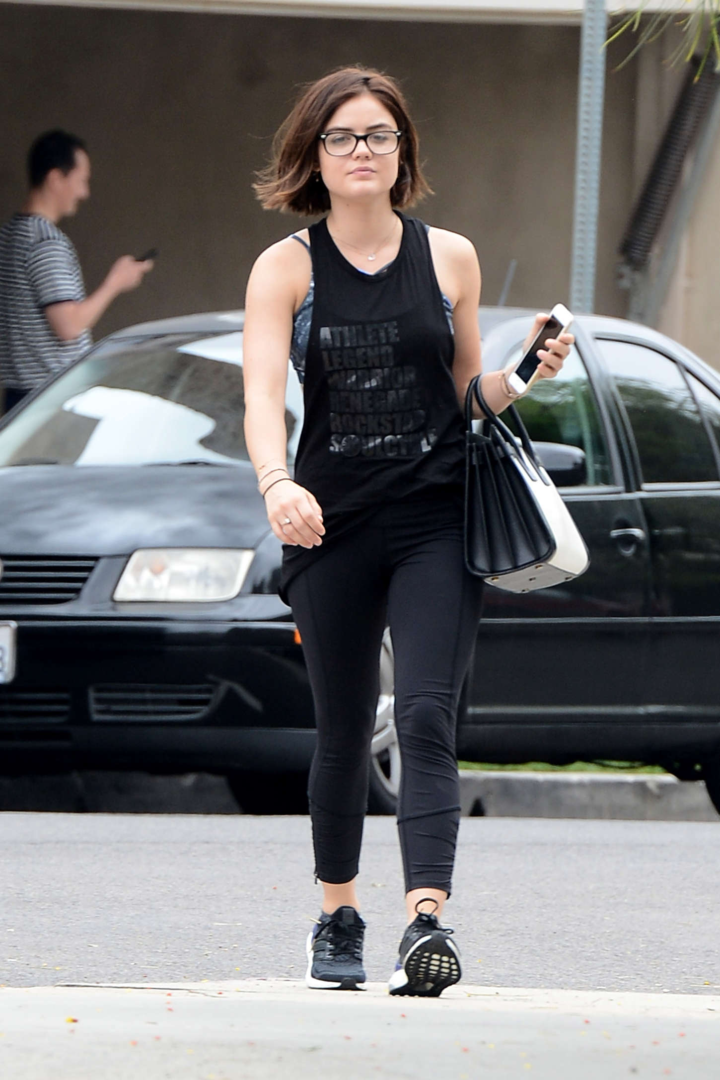 Lucy Hale in Tights Leaving ENails in West Hollywood