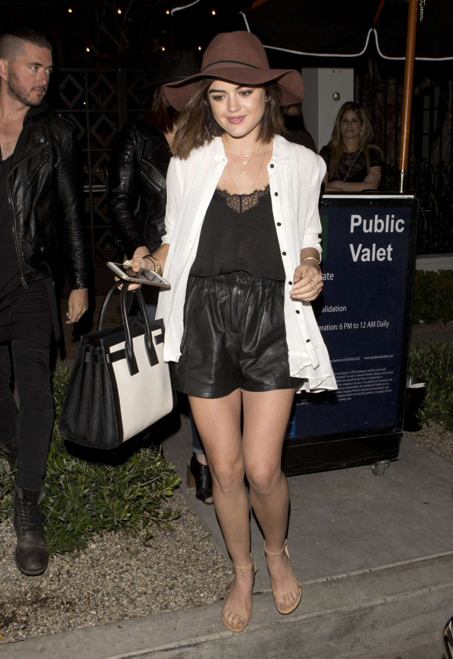 Lucy Hale in Shorts Leaving Gracias Madre in West Hollywood