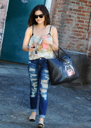 Lucy Hale in Ripped Jeans - Leaving the gym in LA