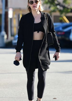 Lucy Hale - Leaving the gym in Los Angeles