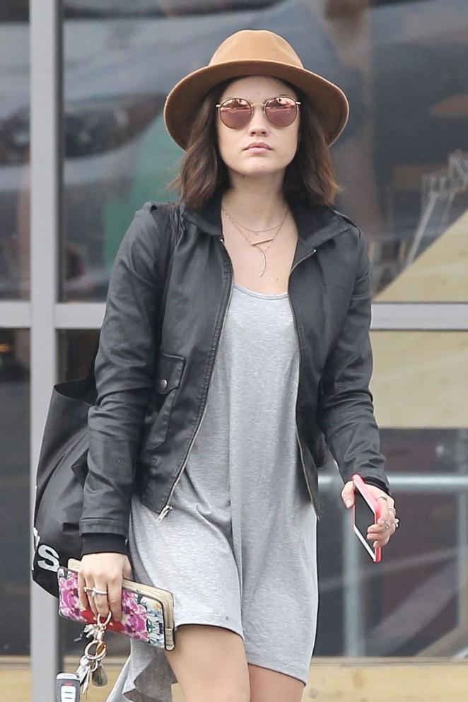 Lucy Hale in Mini Dress Leaving Urban Outfitters in LA