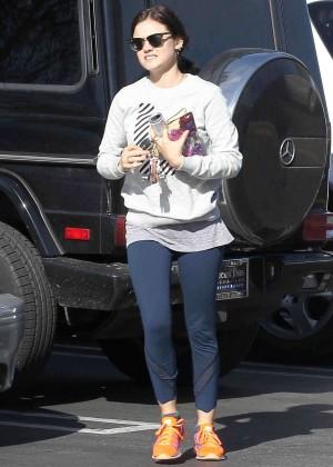 Lucy Hale in Leggings Out in LA