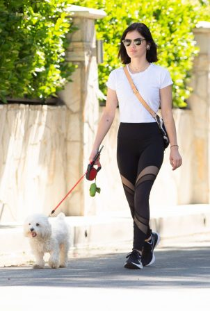 Lucy Hale - Out for a dog walk in Los Angeles