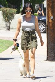 Lucy Hale - Out for a walk with her dog in LA
