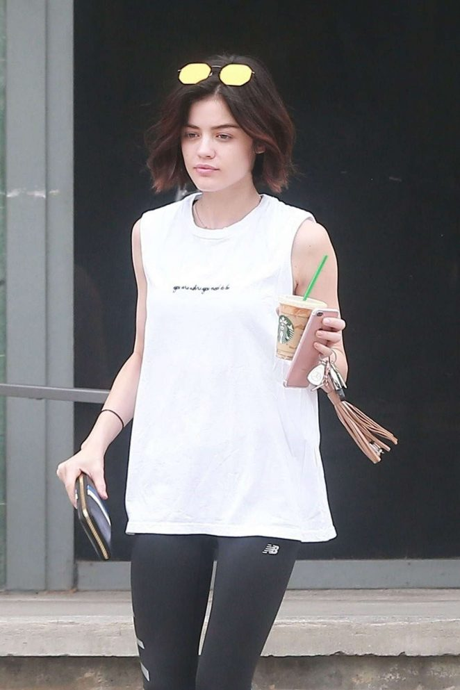 Lucy Hale out for an iced coffee in Studio City
