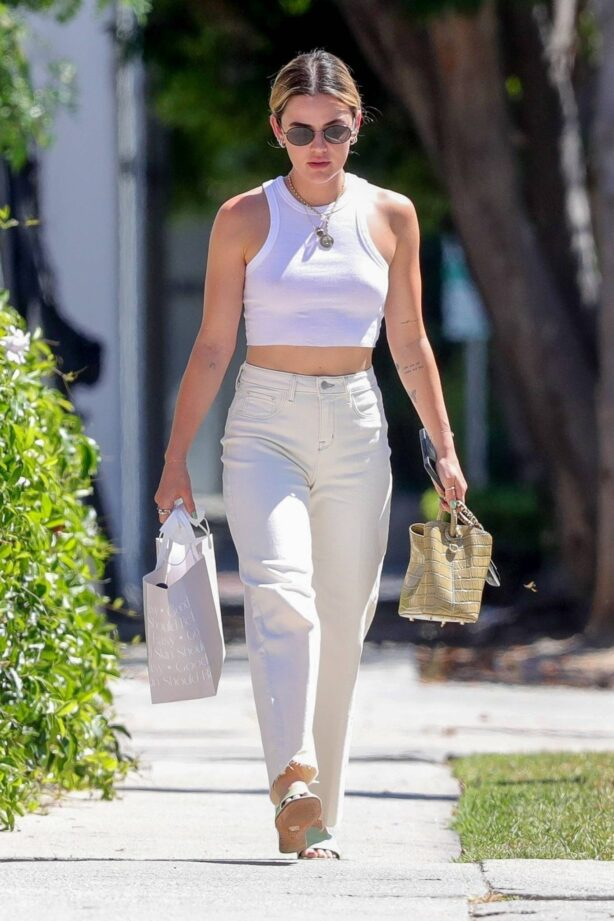 Lucy Hale - Out in white crop top for a retail therapy session in West Hollywood