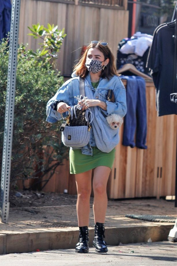 Lucy Hale - Out with new puppy on the street in Venice