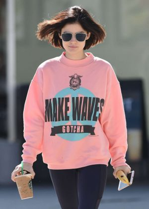 Lucy Hale - Picks Up a Coffee in LA