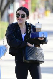 Lucy Hale - Sharing a coffee with a friend in Los Angeles