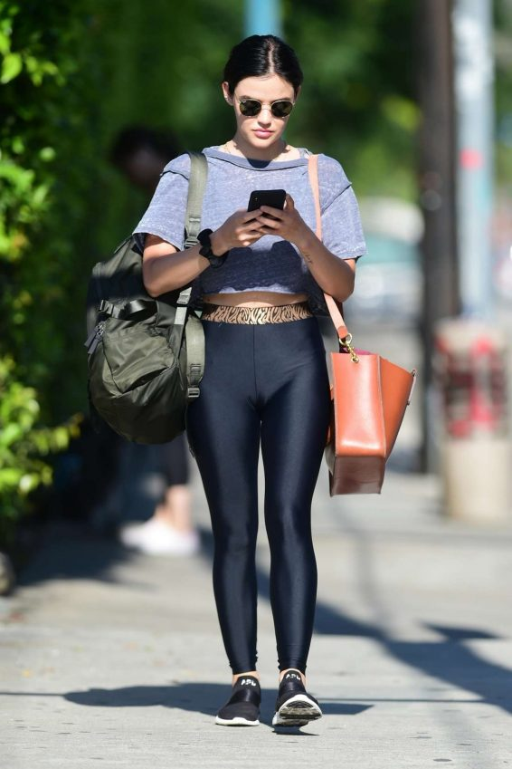 Lucy Hale - Shopping in casual active wear in Studio City