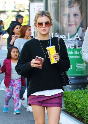 Lucy Hale in Mini Skirt Shopping in West Hollywood