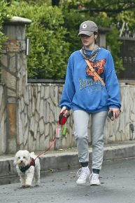 Lucy Hale - Spotted while walking her dog Elvis in Los Angeles