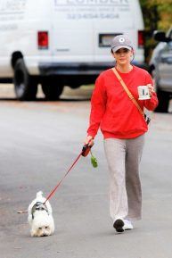 Lucy Hale takes her dog Elvis for a walk