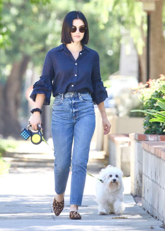 Lucy Hale - Takes her dog Elvis out for a morning walk in Studio City