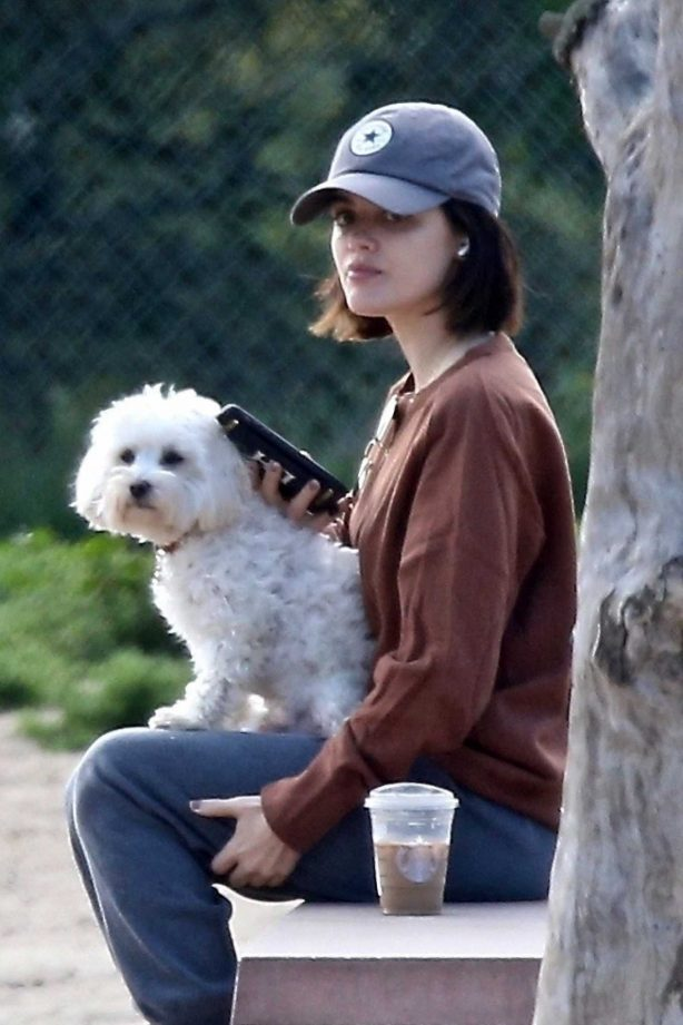 Lucy Hale - Takes her dog Elvis to a local park in Los Angeles
