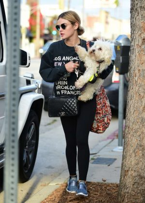 Lucy Hale takes her dog for a walk in Studio City