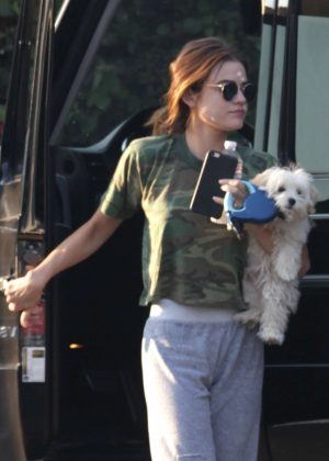 Lucy Hale takes her dog to her friends house in Studio City