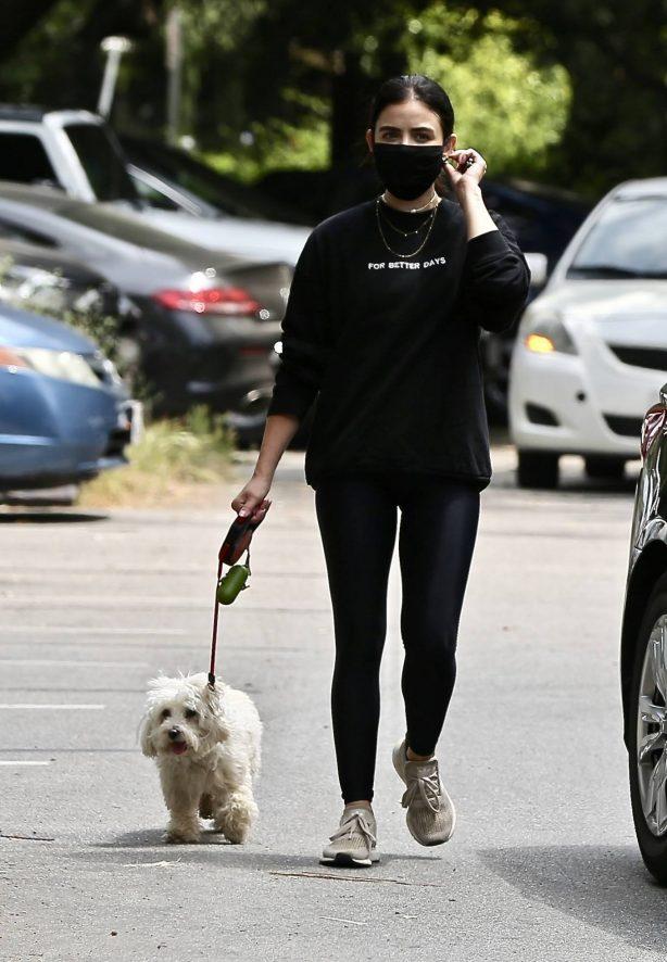Lucy Hale - Walks her dog in Studio City