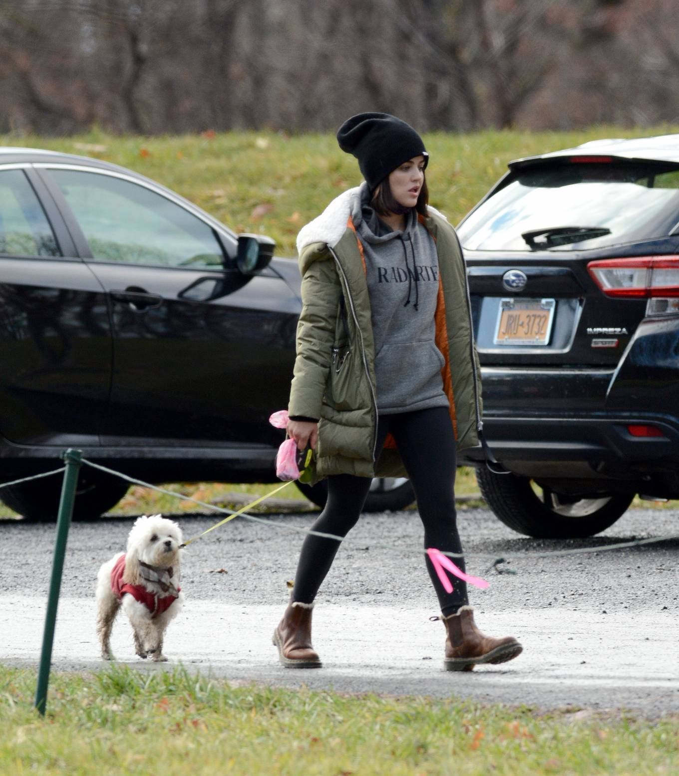 Lucy Hale - Walks her dog in Upstate New York