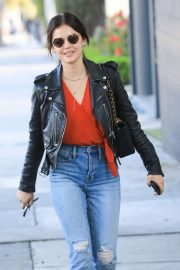 Lucy Hale - Wearing a leather jacket in West Hollywood