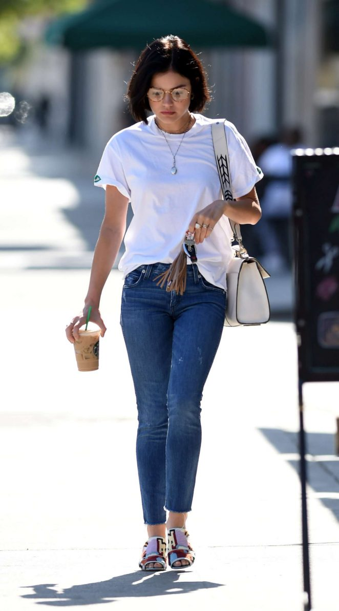 Lucy Hale white T shirt and jeans getting coffee in LA