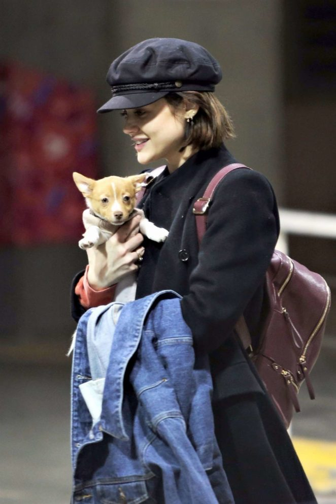 Lucy Hale with a new puppy arrives in Vancouver
