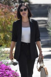 Lucy Hale - With friends at Aroma cafe in Studio City