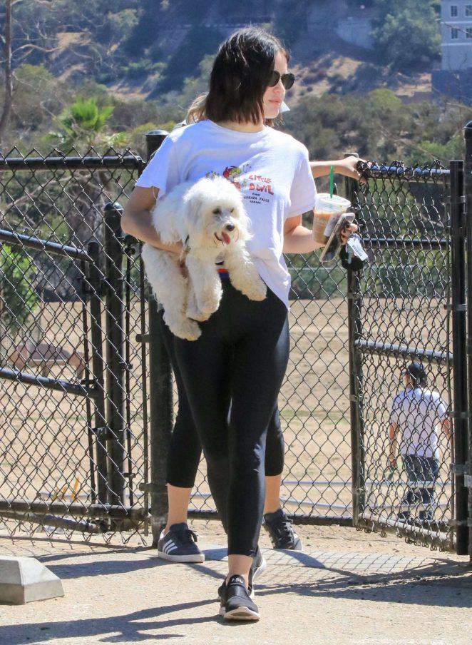 Lucy Hale - With her dog at a dog park in LA