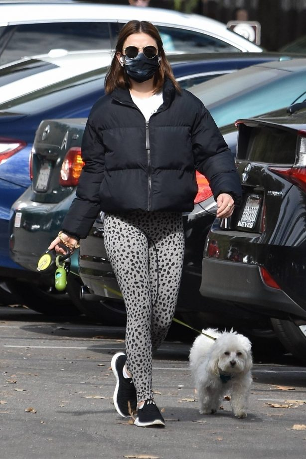 Lucy Hale - With her dog Elvis in Studio City