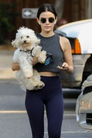 Lucy Hale - With her dog Elvis on Fryman Canyon Loop Trail in Los Angeles