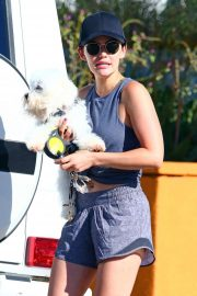 Lucy Hale - With her dog in Studio City