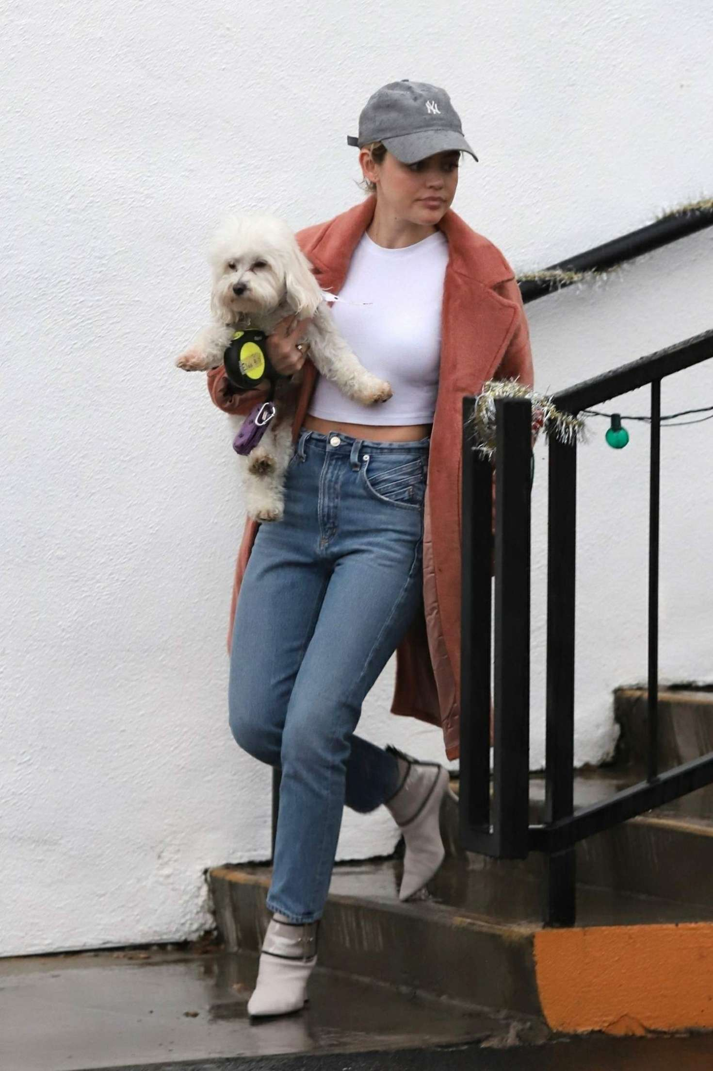 Lucy Hale with her dog ouit in Los Angeles