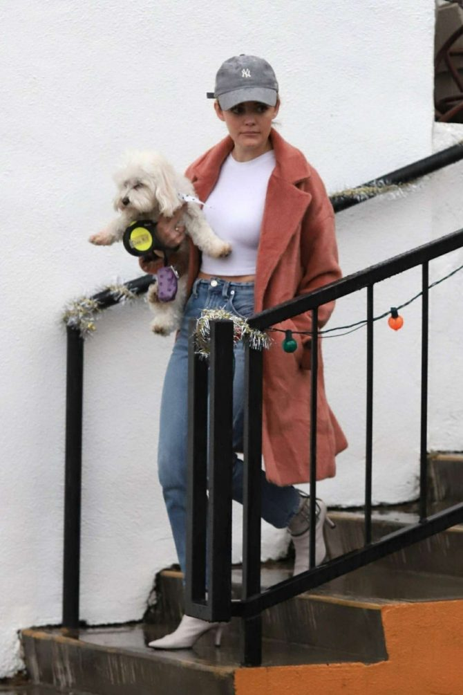 Lucy Hale with her dog ouit in Los Angeles -08