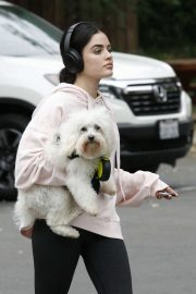 Lucy Hale with her dog - Out Hiking in Los Angeles