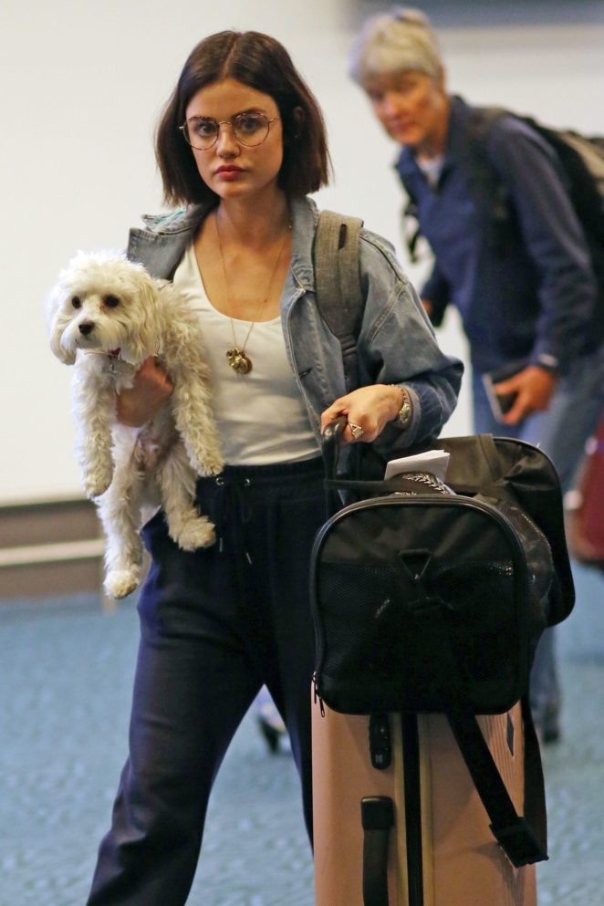 Lucy Hale with her dog return to Vancouver