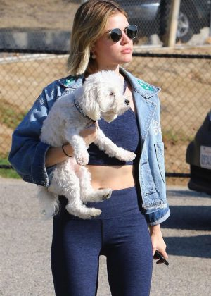 Lucy Hale - With her pup at a dog park in LA