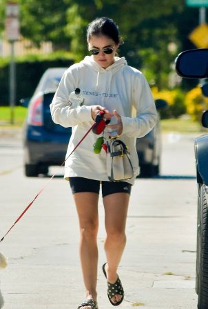 Lucy Hale - With her pup visiting a friend in Studio City