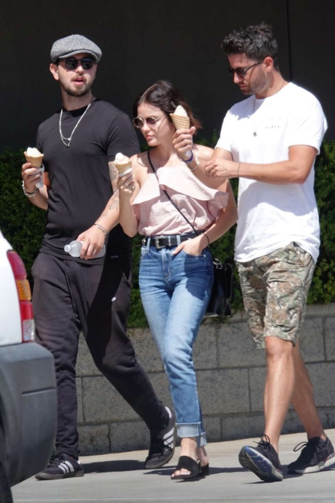 Lucy Hale with Paul Khoury at Mendocino Farms Market in Sherman Oaks