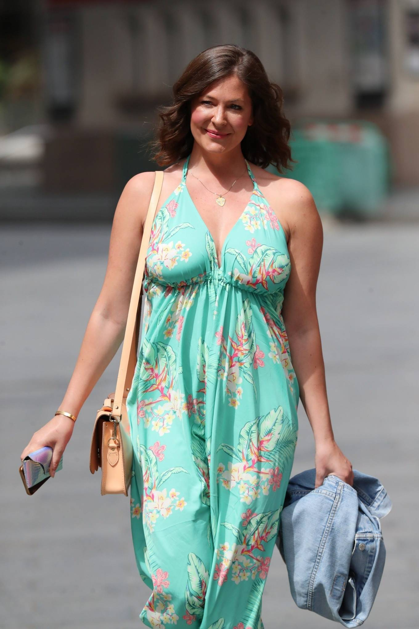 Lucy Horobin - In a floral jumpsuit seen while leaving Global Radio