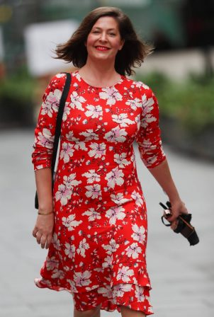 Lucy Horobin - In a red floral dress at Global Radio in London
