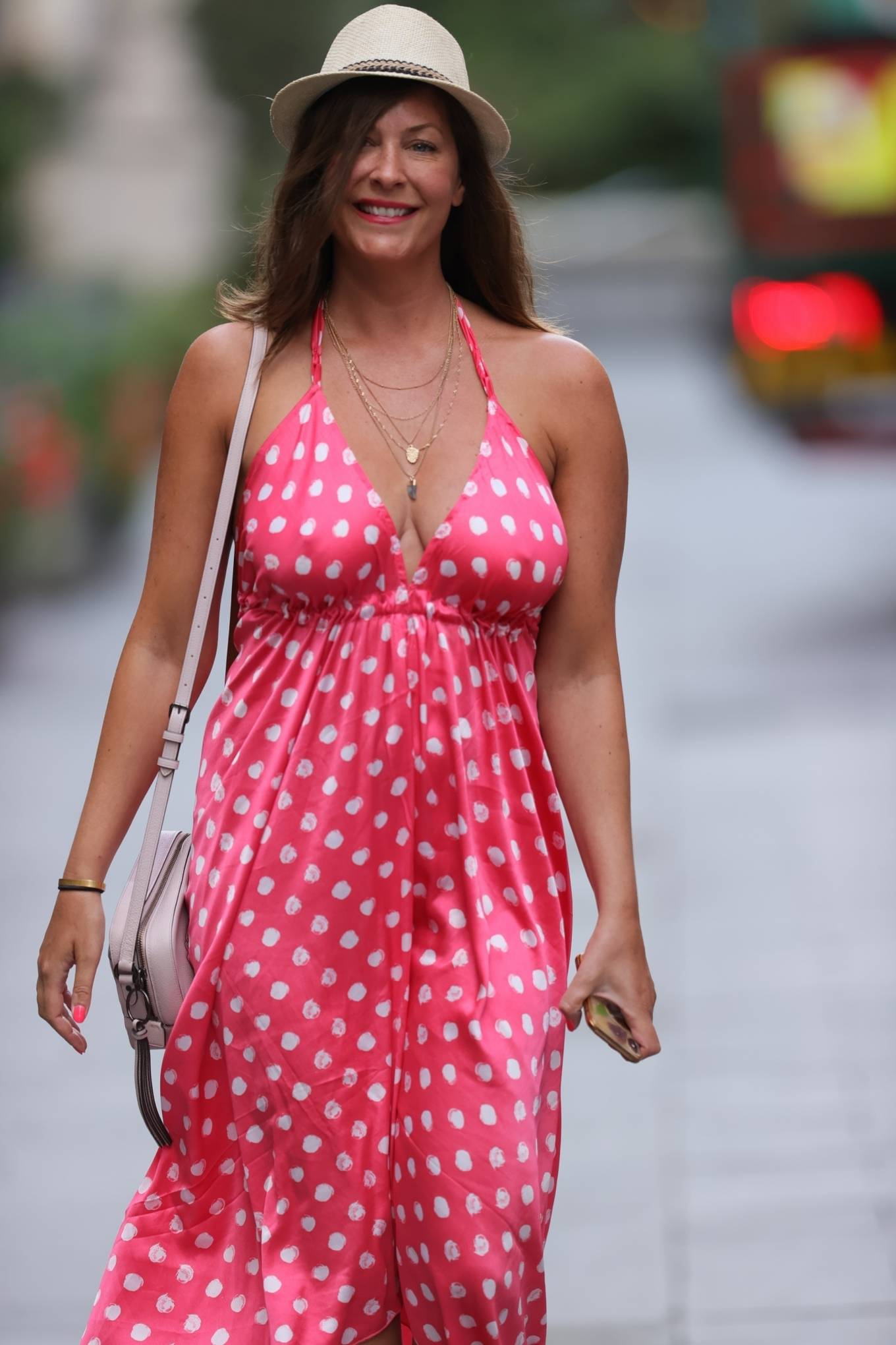 Lucy Horobin - In a red polka dot dress at Heart Dance radio in London