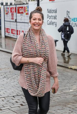 Lucy Horobin - Seen arriving at the Global Radio Studios in London