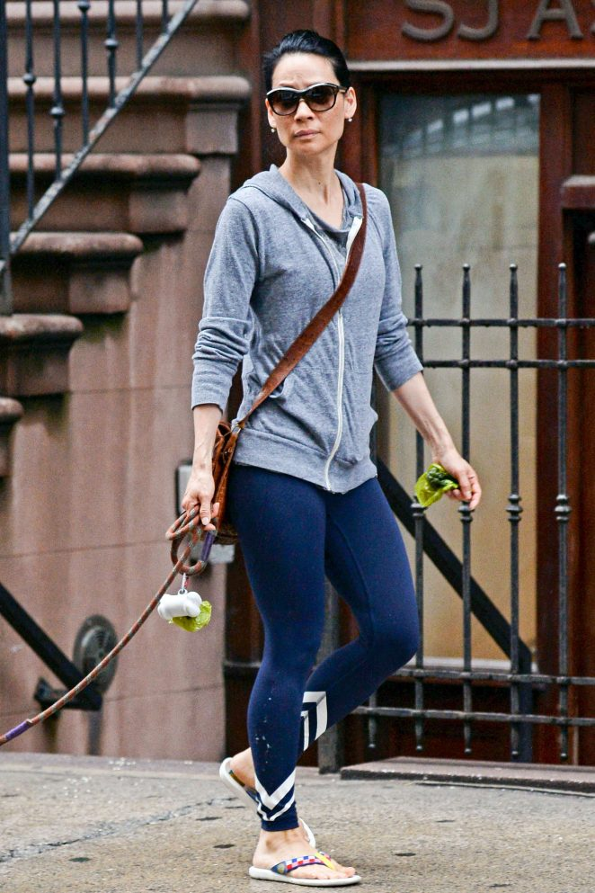 Lucy Liu – Walking her Dogs in New York
